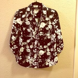 Black floral print button down blouse